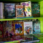 Regał z książkami dla dzieci w dużym zbliżeniu